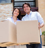 Loving couple moving house Royalty Free Stock Photography