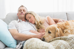 Loving couple napping on couch with their dog Royalty Free Stock Images