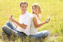 Loving couple in nature Stock Photos