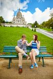 Loving couple near the Sacre-Coeur in Paris Royalty Free Stock Photography