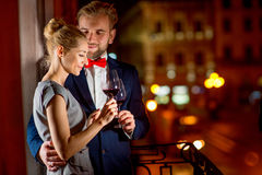 Loving couple on the night city background Royalty Free Stock Photography