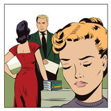Loving couple in office. Young woman is jealous. Stock illustration. People in retro style pop art and vintage advertising. Loving couple in office. Young woman Stock Photos