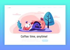 Loving Couple Outdoor on Picnic Landing Page. Man and Woman Lying down on Blanket in City Park. Happy Pair Rest Summer. Leisure Website or Web Page Design. Flat royalty free illustration