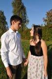 Loving couple outdoor portrait Stock Photos