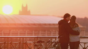 Loving couple outdoor at sunset stock footage