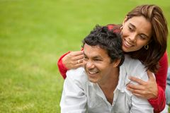 Loving couple outdoors Royalty Free Stock Image