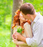 Loving couple outdoors Royalty Free Stock Photo