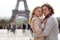 Loving couple in Paris Stock Images