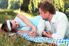 Loving couple in park Stock Photo