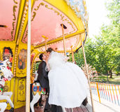 Loving couple in the park entertainment and amusement. Royalty Free Stock Photos