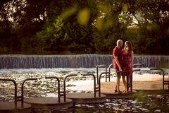 Loving couple in the park Royalty Free Stock Images