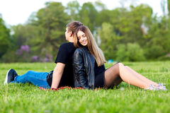 A loving couple in the park. Royalty Free Stock Photo