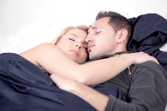 Loving couple in a peaceful sleep Royalty Free Stock Photography