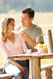 Loving couple on a picnic Stock Photos