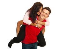 Loving couple in piggy back Stock Photography