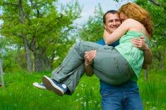 Loving couple playing around Stock Photos