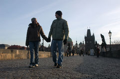Loving couple in Prague Royalty Free Stock Photography
