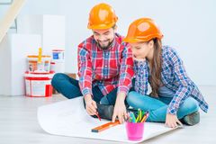 Loving couple preparing for renovation Stock Photography