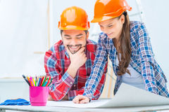 Loving couple preparing for renovation Royalty Free Stock Photo