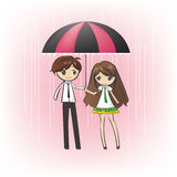 Loving Couple in the rain (vector). Teenage couple under an umbrella, in the rain (vector Stock Image