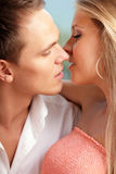 Loving couple ready to kiss Stock Images