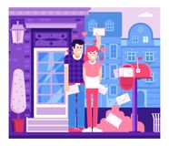 Loving Couple Receiving Valentine Letters. Loving couple getting mail from mailbox full of envelopes. Man and woman receiving letters near opened postbox. City Royalty Free Stock Images