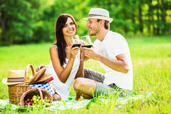 Loving couple relaxing in nature Royalty Free Stock Photo