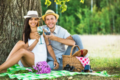 Loving couple relaxing in nature Stock Images