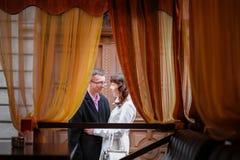 Loving couple in a restaurant of Lviv Stock Photo