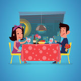 Loving couple in restaurant. Romantic dinner. character design. Loving couple in restaurant. Romantic dinner. man with rose branch in hand  for sruprise Royalty Free Stock Images