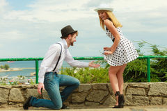 Loving couple retro style flirting outdoor Stock Images
