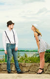 Loving couple retro style flirting outdoor Royalty Free Stock Photos