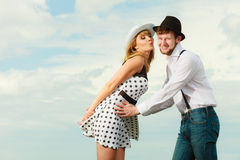 Loving couple retro style flirting outdoor Stock Photos