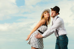 Loving couple retro style flirting outdoor Stock Photography