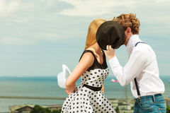 Loving couple retro style kissing on date outdoor Royalty Free Stock Images