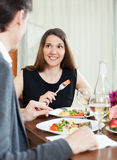 Loving couple romantic dinner Stock Photography