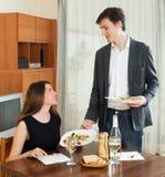 Loving couple romantic dinner Royalty Free Stock Photos