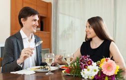 Loving couple romantic dinner Royalty Free Stock Image