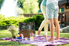 Loving couple romantic picnic. Loving couple on a romantic picnic for two Stock Image