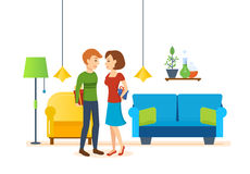 Loving couple in room on Valentines Day Stock Images