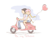 Loving couple on a scooter Stock Images