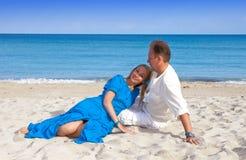 Loving couple on the seashore, Cuba, Varadero Stock Photos