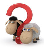Loving couple of sheep 3d illustration Royalty Free Stock Images