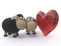 Loving couple of sheep Stock Photography