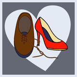 Loving couple shoes Royalty Free Stock Photography