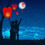 Loving couple silhouette start date sky Royalty Free Stock Photo