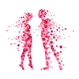 Loving couple silhouettes of rose petals Royalty Free Stock Image