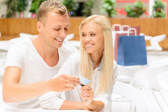 Loving couple sitting in the cafe Stock Image