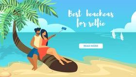 Loving Couple Sitting on Palm Tree Making Selfie vector illustration