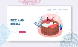 Loving Couple Sitting in Wooden Bath Taking Sauna and Spa Water Procedure. Relaxation, Body Care, Wellness, Honeymoon. Dating Website Landing Page, Web Page royalty free illustration